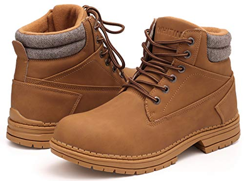 WHITIN Men's Mid Soft Toe Leather Insulated Work Boots Construction Rubber Sole Roofing Waterproof for Outdoor Hiking Winter Snow Casual Fashion Carolina Motorcycle Justin Industrial Tan Size 11