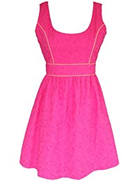 Pink Eyelet Lace Summer Dress