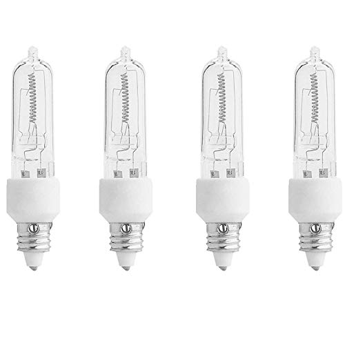 4-Pack E11 120V 100W Halogen JDE11 100W Bulb Warm White 100 Watt E11 Bulb JDE11 for Chandeliers, Pendants, Table Lamps, Cabinet Lighting, Mini-Candelabra Base, by Bluex Bulbs - Mini Candelabra 100w