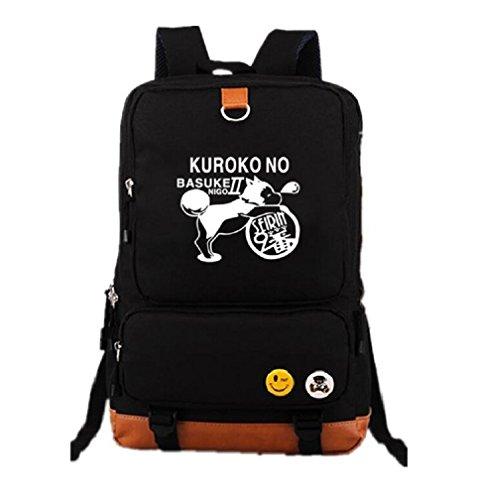 YOYOSHome Luminous Anime Kuroko no Basket Cosplay Bookbag College Bag Daypack Backpack School Bag (Black 2)