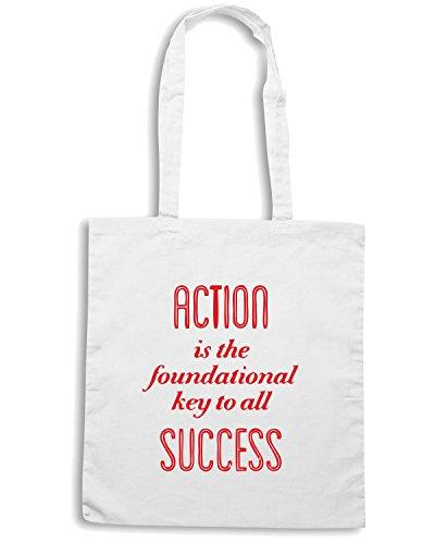 T-Shirtshock - Bolsa para la compra CIT0181 Pablo Picasso Action Is The Foundational Key To All Success Blanco