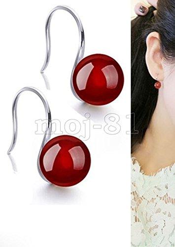 Fashion Women's 10MM Natural Red Jade Sterling Silver Hook Dangle Earrings ()