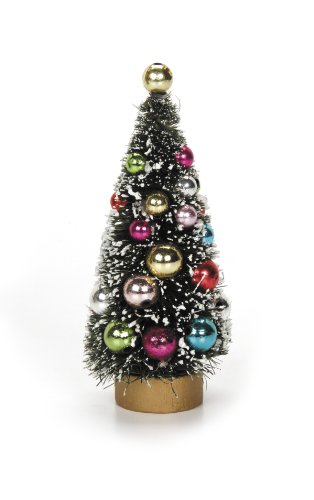 Darice 2513-350 Diameter Frosted Green Sisal Tree with Bead Ornaments, 4 by 2-Inch