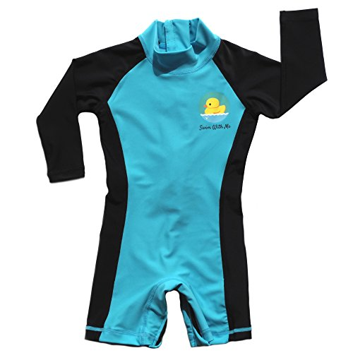 Spf 50 Sun Protection (Swim With Me- SPF 50+ Sun Protection Swimsuit For Infant, Baby, Toddler 0-24 Months. (0-6 Months, Light Blue and Black))