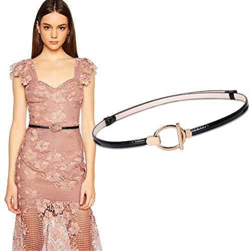 WERFORU Women Skinny Dress Belt for Ladies Adjustable Thin Belt for Dress Leather Belt for 20-40in Waist - Oval Shaped Belt Buckle