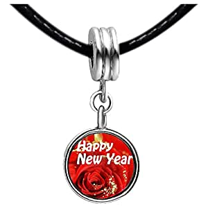 Chicforest Silver Plated Happy New Year red rose Photo Peridot Crystal August Birthstone Flower dangle Charm Beads Fits Pandora Bracelet