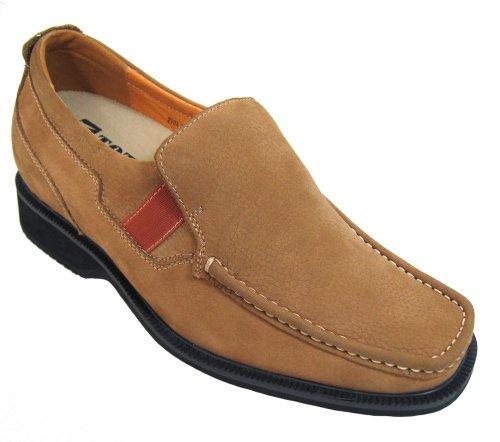 Toto-v0902-7,6cm Grande Taille-Hauteur Augmenter Chaussures ascenseur (Marron Camel antidérapant sur Casual)