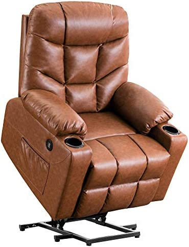 Electric Power Lift Recliner Chair Dual TUV Motor Infinite-Positions Lay Flat Sleeper Faux Leather Lounge w Remote Control Dual USB Charging Ports 7298 Light Brown Renewed