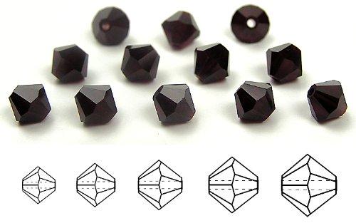 6mm Garnet, Czech MC Rondell Bead (Bicone, Diamond Shape), 1 gross = 144 pieces