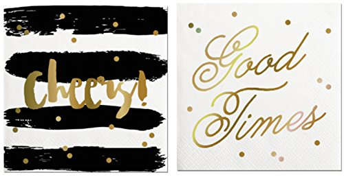 2-pack-party-napkins-2-sets-of-20-good-times-cheers-black-gold-cocktail-napkins
