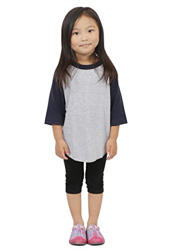 Hat and Beyond Kids Raglan 3/4 Sleeves Baseball T Shirts Baby 5KSA0001 (XS (3-4 Yrs 4T), 5ks01_Grey/Navy)