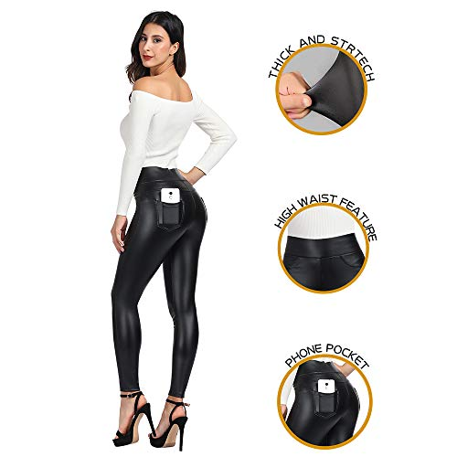 MCEDAR Women's Faux Leather Leggings with Pockets Girls' Black High Waist Sexy Skinny Slim Fit Pants for Causal, Club, Night Out (M, ()