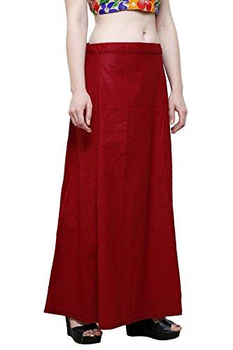 Aurielle Rogisse Mujer India Sari Algodón Enagua Bollywood Solid Inskirt Costuras Forro Enaguas Maroon