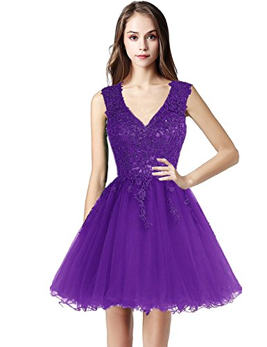 LX418 80602 Cocktail Dresses Applique Womens Short Beaded Gowns Sarahbridal Lace purple Homecoming SpUqxSwz