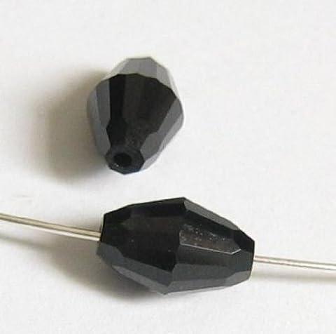 6 pcs Swarovski Crystal 5200 Olive Barrel Bead Spacer Jet Black 9mm x 6mm / Findings / Crystallized - Element Spacer