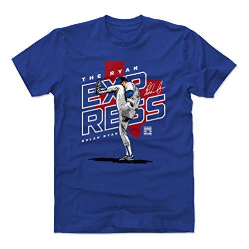 500 LEVEL Nolan Ryan Cotton Shirt (Large, Royal Blue) - Texas Rangers Men's Apparel - Nolan Ryan Player Map R WHT