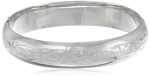 Sterling Silver Guard and Hinge Embossed Floral Bangle Bracelet ()