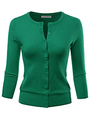 LALABEE Women's 3/4 Sleeve Crewneck Button Down Knit Sweater Cardigan (S~3XL)