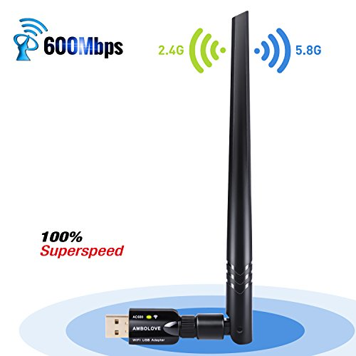 Wifi USB Adapter 5dBi Antenna, AMBOLOVE AC600Mbps Dual Band 2.4G/5G Wifi Dongle 802.11n/g/b wireless network Lan card Adapter for PC Desktop Laptop Support Windows 10/8.1/8/7/XP/Vista/Mac OS/Linux