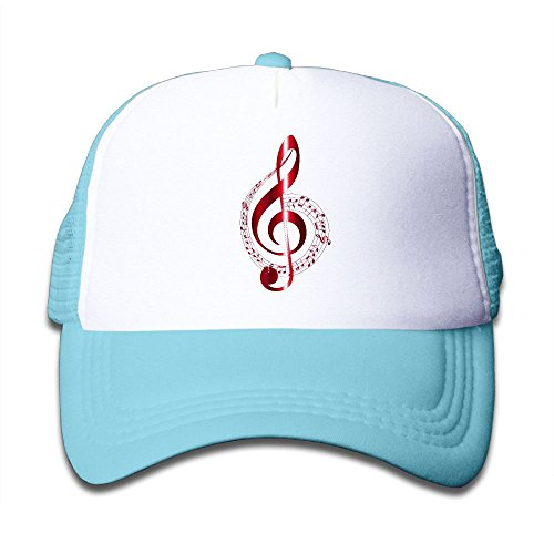 Aiw Wfdnn Red Music Notes Adjustable Mesh Baseball Cap Kids Trucker Hats Boy and (Red Music Note)
