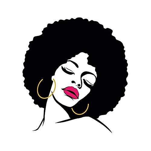- Wee Blue Coo Painting Drawing Woman with Afro Hairstyle Lipstick Unframed Wall Art Print Poster Home Decor Premium