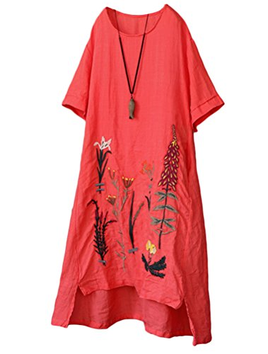 Minibee Women's Embroidered Linen Dress Summer A-Line Sundress Hi Low Tunic Clothing Red -