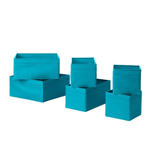 Ikea Skubb Storage Box,drawer Organizer,multiuse Set of 6, Turquoise