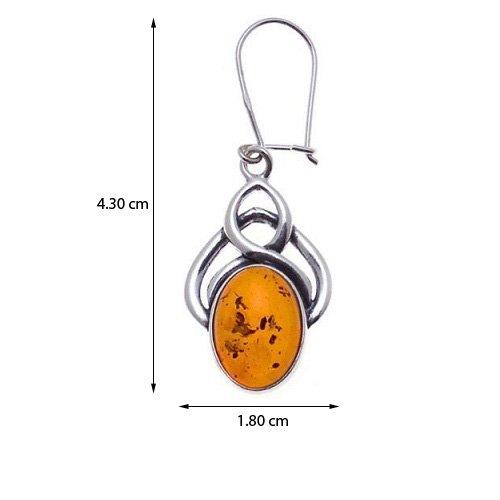 Honey Amber Sterling Silver Celtic Oval Earrings