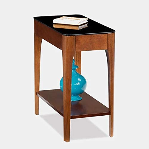 Wood End Table – End Table with Glass Top – Chestnut
