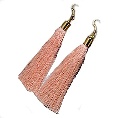 Pink Long Tassel Earrings Gold Metal Cap and Hook (pink 2) r01G0mM1
