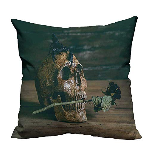 Pillow Case Cushion Cover Still Life Skull and Rose Periods with a Scorpion on The Head Printing Dyeing (Double-Sided Printing) 21.5x21.5 - Scorpion Case Race