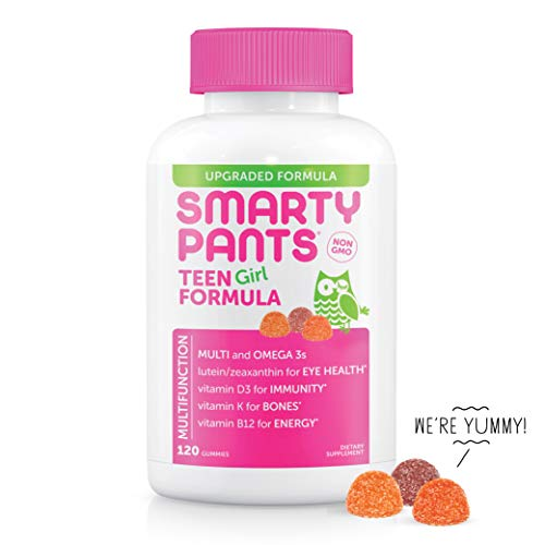 SmartyPants Teen Girl Complete Daily Gummy Vitamins: Multivitamin, Gluten Free, Lutein/Zeaxanthin for Eye Health*, Biotin, Vitamin K & D3, Omega 3 Fish Oil (DHA/EPA), 120 Count (22 Day Supply)
