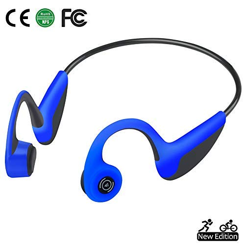 Bone Conduction Headphones Bluetooth 5.0 Open-Ear Wireless Sports Headsets w/Mic for Jogging Running Driving Cycling, Sweatproof and Lightweight-1.2 oz (Blue)