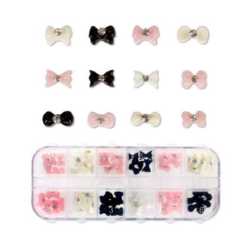 Maniology (formerly bmc) 60pc Mixed Color Acrylic Bows DIY 3D Nail Art Cabochon Stud Decoration Set-Bow Craze