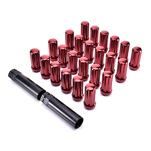 Facaimo 24PCS M14x1.5 Red Spline Lug Nut Kit Fits 6x5.5 Bolt Pattern (1997 Chevy Silverado 5 Lug Bolt Pattern)
