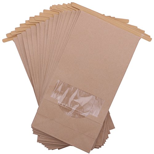 Katkitchen 25-Piece Stand Up Kraft Paper Bakery Treat Bags, 9.3