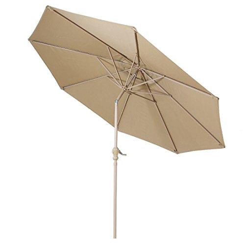 FARLAN Patio Umbrella 9 Ft Outdoor Table Aluminum offset market umbrellas with Push Button Tilt and Crank 9 Ft, Beige