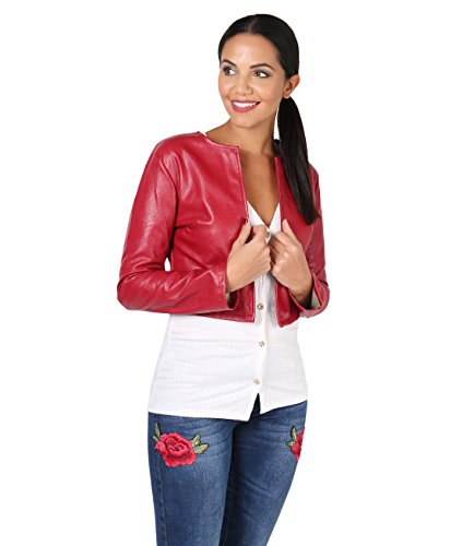 KRISP PU Cropped Open Jacket (Red, Medium),[4432-RED-M] - Leather Short Dress Shorts