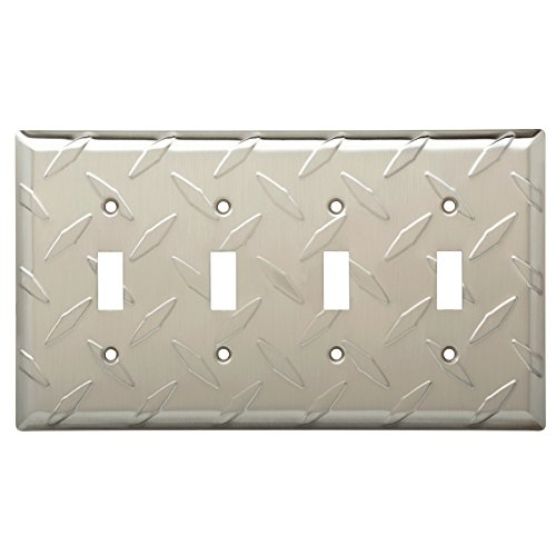 (W32850-SN Diamond Plate Quad Switch Cover Plate Satin Nickel)
