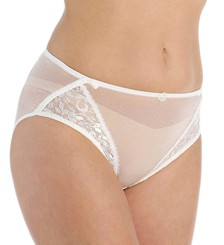 Nylon High Cut Bikini Panties - Carnival Womens High Cut Lace Stretch Bikini Panty, Ivory, Medium
