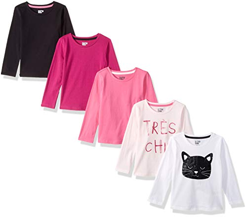 Spotted Zebra Girl's Long-Sleeve T-Shirts, Pack of 5