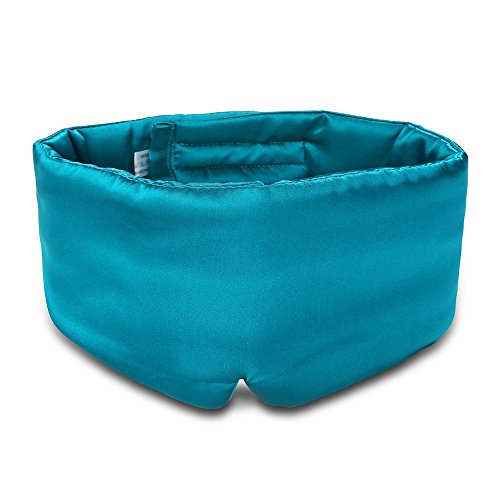 Eyes Ears Head - 100% Mulberry Silk Sleep Mask Eye Mask for Man and Woman with Adjustable Headband, Full Size Large Sleep Mask & Blindfold for Total Blackout for All Night Sleep, Travel & Nap- Peacock Blue