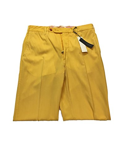 Vigano Italian Made Men's Designer Dress Suit Pants 100% Cotton (Size 32 Waist, Yellow) (Italian Cotton Pants)
