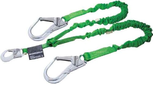 Miller by Honeywell 231MAL/6FTGN 6-Feet Manyard II Shock Absorbing Stretchable Web Lanyard with 2 Aluminum Locking Rebar Hook, Green by Honeywell