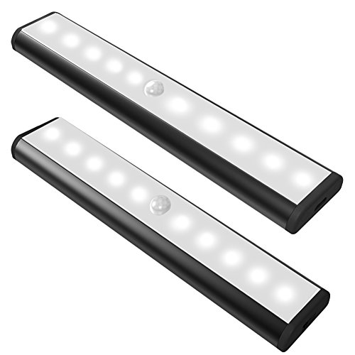 Style Portable Patio Light (Motion Sensor Cabinet Led Light, USB Rechargeable 3 Modes Switch(G, ON and OFF) Magnetic Stick On Anywhere Outdoor Portable Night Light Lamp Bulb Lighting Bar for Closet Wardrobe (2 Pack 10LED, Black))