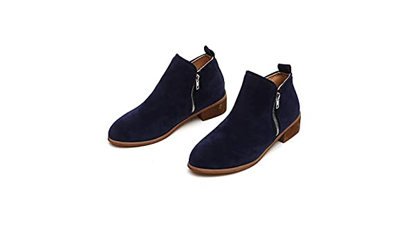 Amazon.com: Clearance! Binmer Ankle Short Booties Knight Ladies Suede Martin Boots Shoes Zipper Boot (39, Blue): Clothing