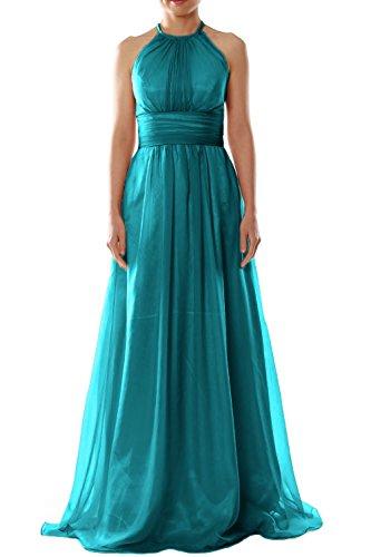 MACloth Women Halter Chiffon Long Bridesmaid Dress Wedding Party Evening Gown Teal