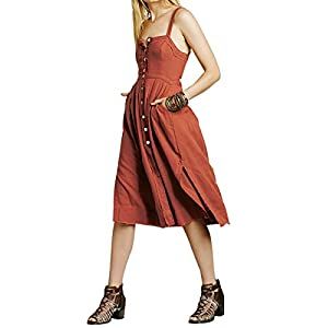 CA Mode Women Button Up Suspender Dress Cocktail Party Midi Dresses Side Slits