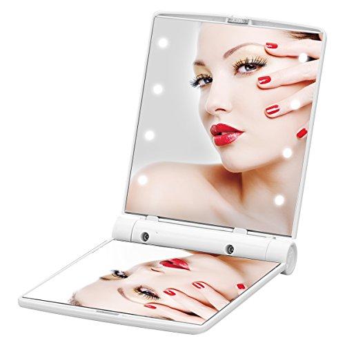 YUSONG Mini Mirrors LED Lighting Mirror Portable Folding Makeup Mirror Cosmetic Folding Pocket Compact Mirror Put into Purse when Travel (White)