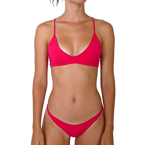 - Female Halter Self Tie Ruched Low Waist Bandeau Striped Rash Guard 2 Piece Solid Swimsuit Top Bottom Set Summer Hot Beachwear Cheeky Bikini Red XL